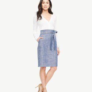 Euc Ann Taylor Chambray paperbag Waist skirt 10